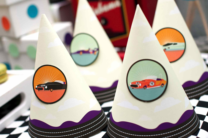 Vintage Race Car Birthday Party Dessert Tables Hats