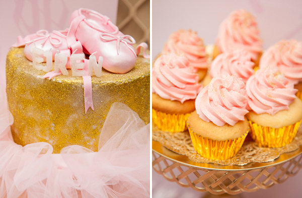 Pink Ballerina Party Gold cake and cupcake