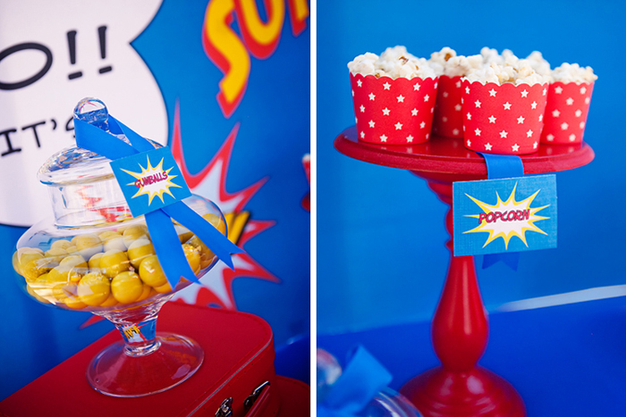 Blue Red and Yellow Superhero Party Cupcakes