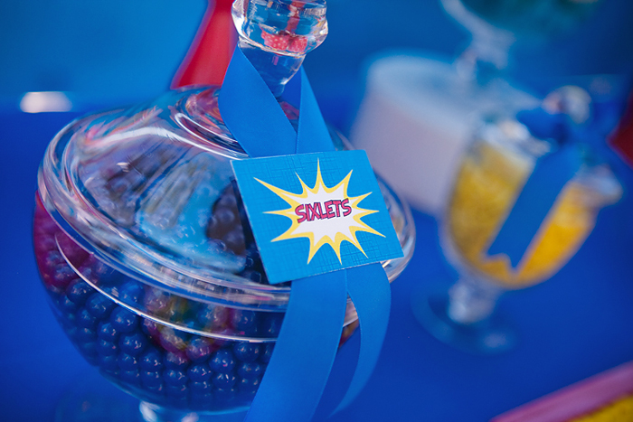 Blue Red and Yellow Superhero Party Candy
