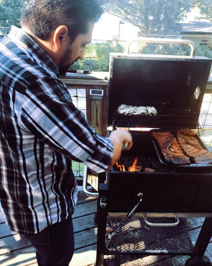Brian grilling at home