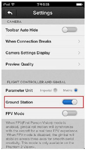 Abilitare la Ground Station nell'APP DJI VISION