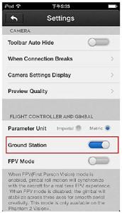 Abilitare la Ground Station nell'APP DJI VISION