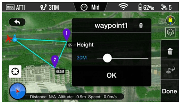 Roll the small white circle to adjust the WAYPOINT altitude
