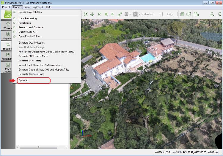 Fig. 1 Accesso menu opzioni Pix4Dmapper