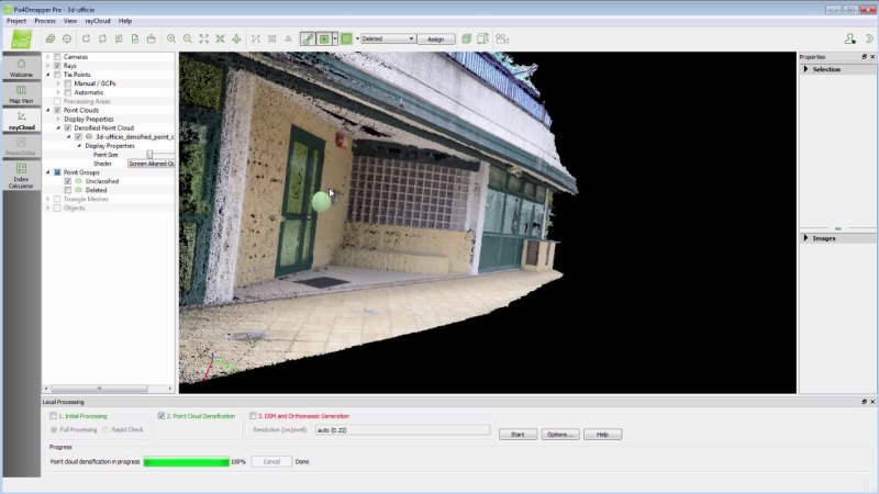 3D Model and Point Cloud generated by Pix4Dmapper