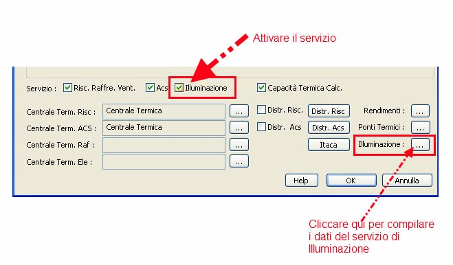 Come inserire il servizio di illuminazione in TermiPlan
