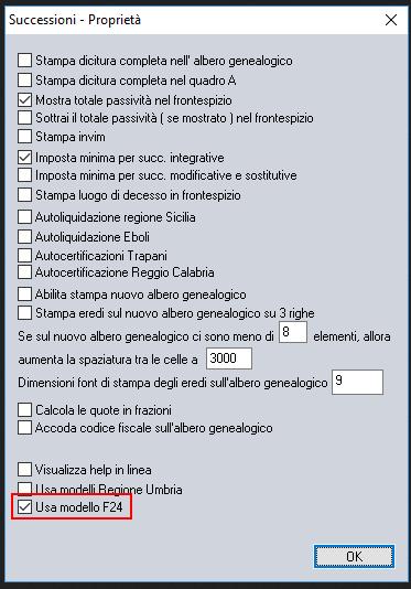 Opzione per l'utilizzo del modello F24 ed i relativi codici tributo - Software Successioni Analist Group