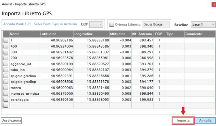 elenco punti rilievo chc i80 software di topografia basato su tecnologia Autodesk