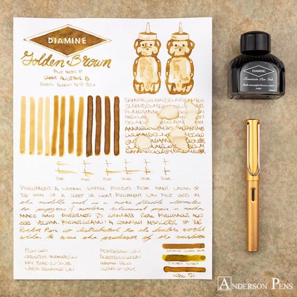 Best brown fountain pen inks  - Diamine Golden Brown