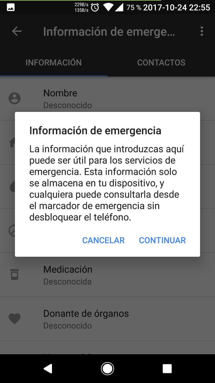 Configurar Android para información y contactos de emergencia