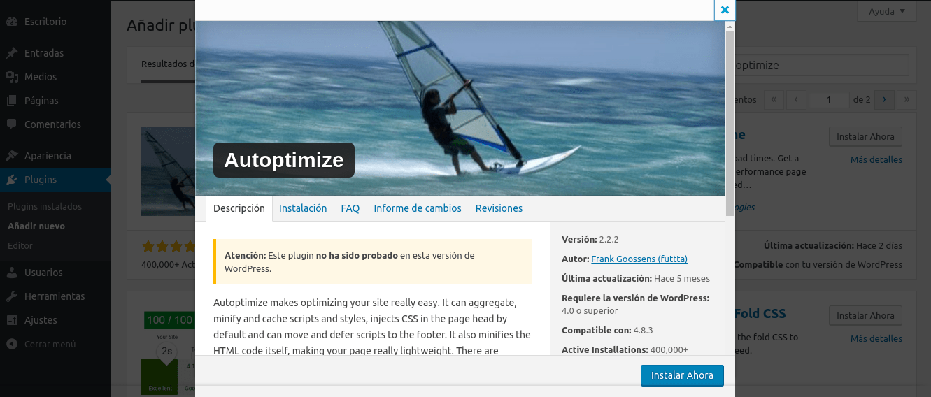 Optimizar WordPress para una carga rápida con Autoptimize
