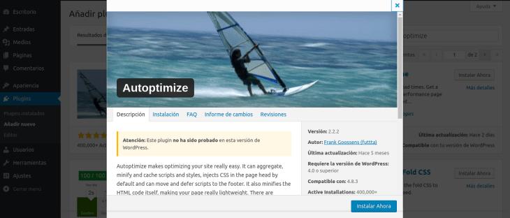 Optimizar WordPress con Autoptimize