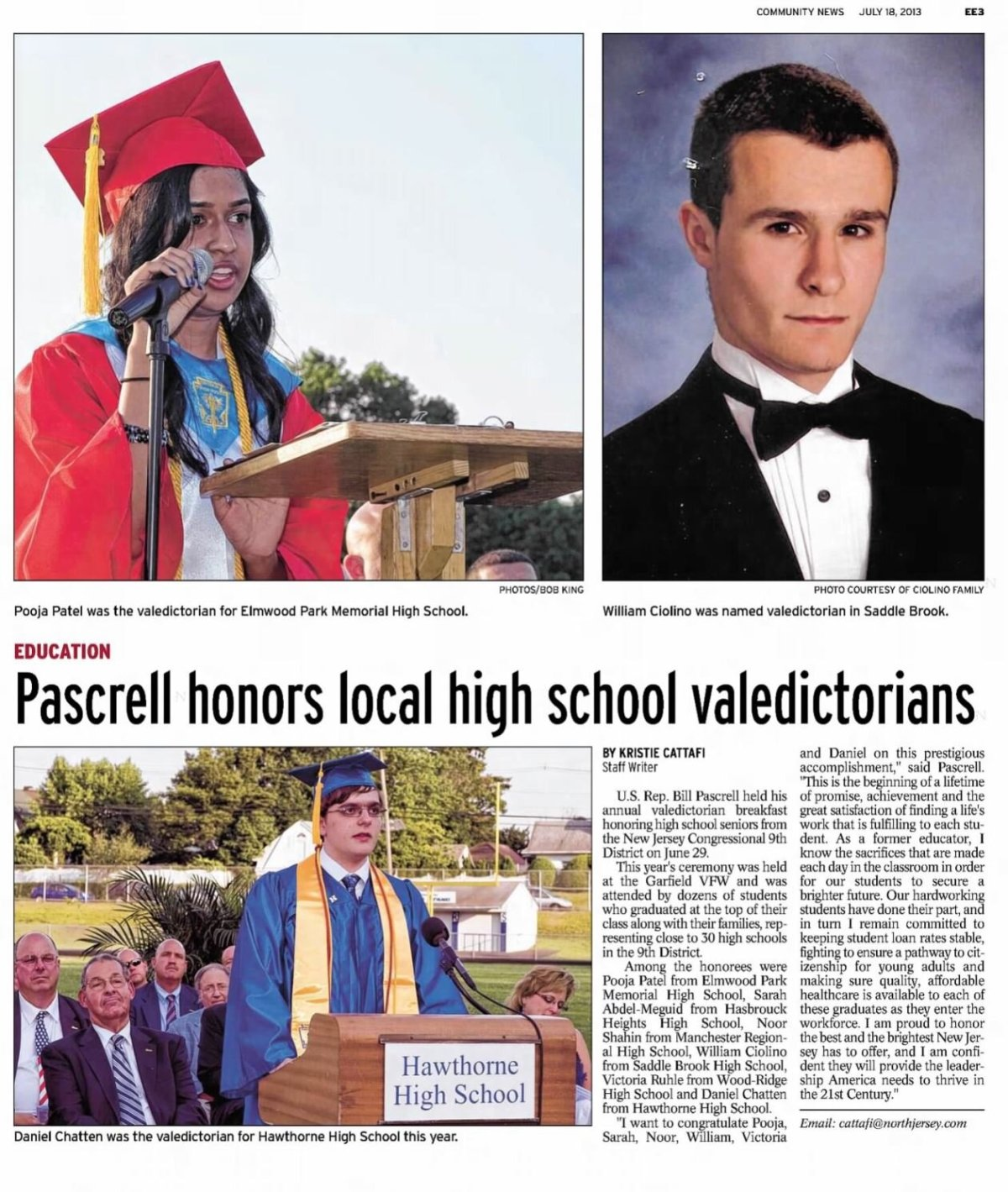 Recognition in the local paper
