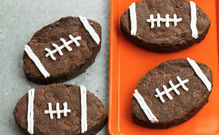 Football shaped brownies