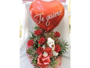 Centro Amor de 6 Rosas rojas