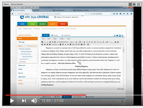 Screenshot from the recording of the Writing With APA Style CENTRAL webinar