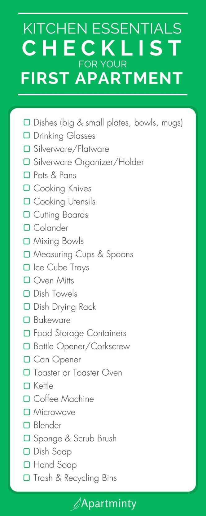 Apartminty Kitchen Essentials Checklist For Your First Apartment