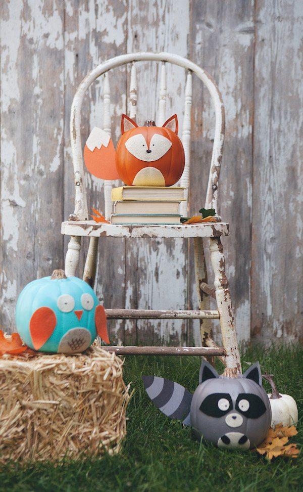 Woodland Creature No-Carve Pumpkins | Decorating With Pumpkins