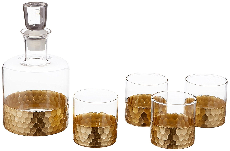 Winter Cocktail Bar Cart Essentials | Gold Whiskey Decanter & Glass Set