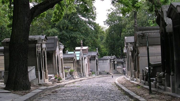 "Pere Lachaise, Paris: <a href=""http://en.wikipedia.org/wiki/P%C3%A8re_Lachaise_Cemetery#mediaviewer/File:Pere_Lachaise_Chemin_Errazu.jpg"" target=""_new"">image credit</a>"