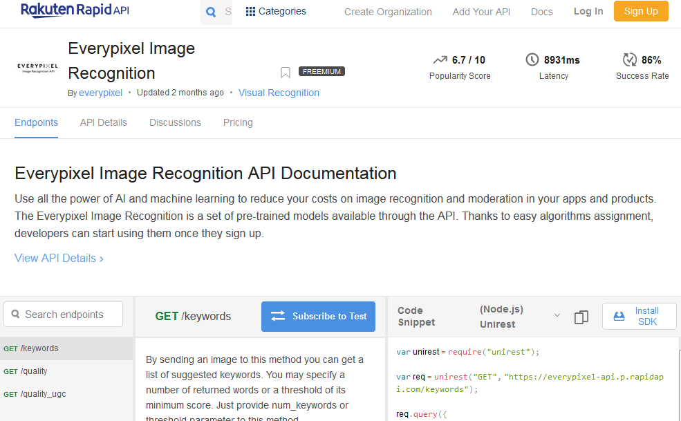 Everypixel Image Recognition API
