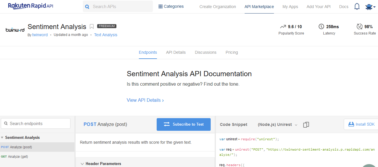 The Twinword Sentiment Analysis API