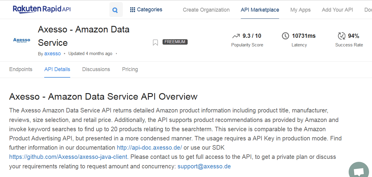 Axesso - Amazon Data Service API Overview