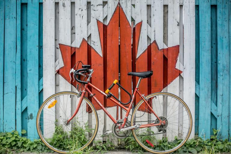 Bike with Canada Flag