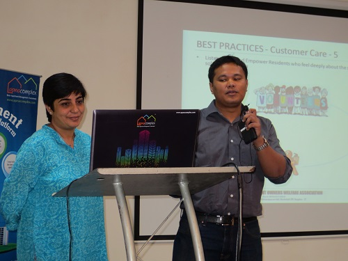 Rohit Talukdar and Ipsita Bose, committee members of Alpine Eco sharing Best Practices on Apartment Management