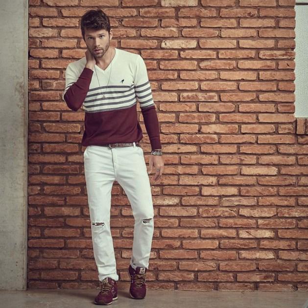 tricot masculino listras Salth com calça caqui