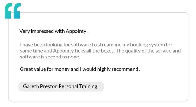 Testimonial by Gareth Preston, a personal trainer, appreciating Appointy's fitness scheduling software