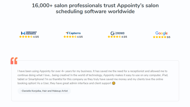 Testimonial by Danielle Konjolka, a hair and makeup artist, appreciating Appointy's salon scheduling software