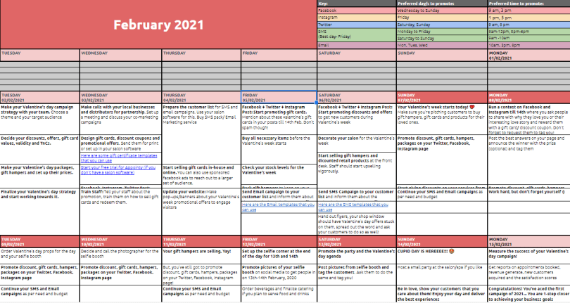 Valentine's Day checklist calendar preview.