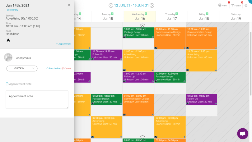 Appointy's online calendar with appointment details