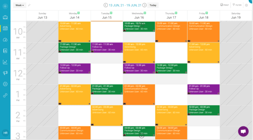 Appointy online color coded calendar page