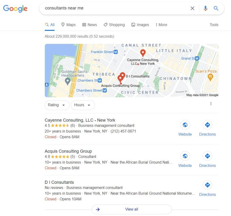 A google search engine  result page showing consultants near a location