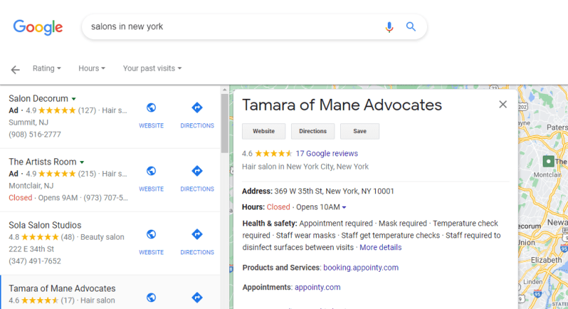 Google SERP for salons in new york
