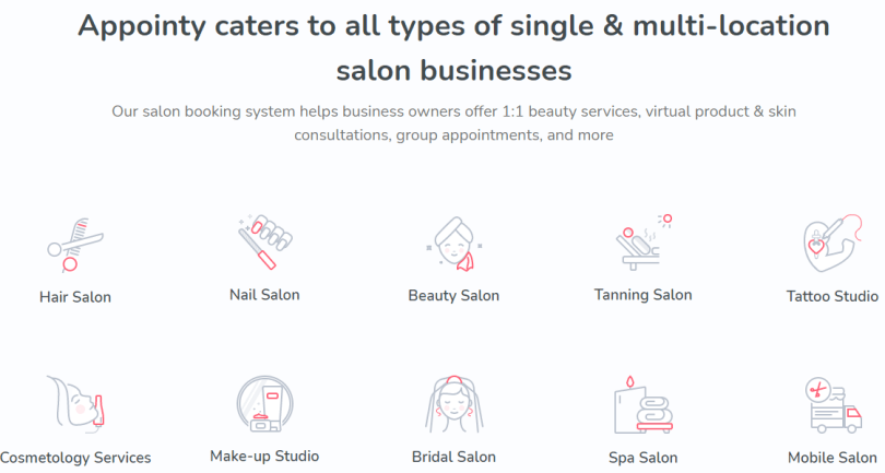 Various salon businesses that Appointy caters to