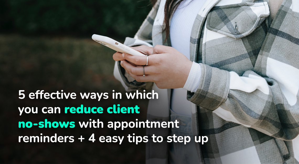 Client receiving an appointment reminder text on the phone to reduce no-show