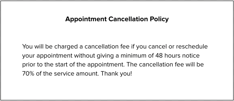 Appointment cancellation policy sample