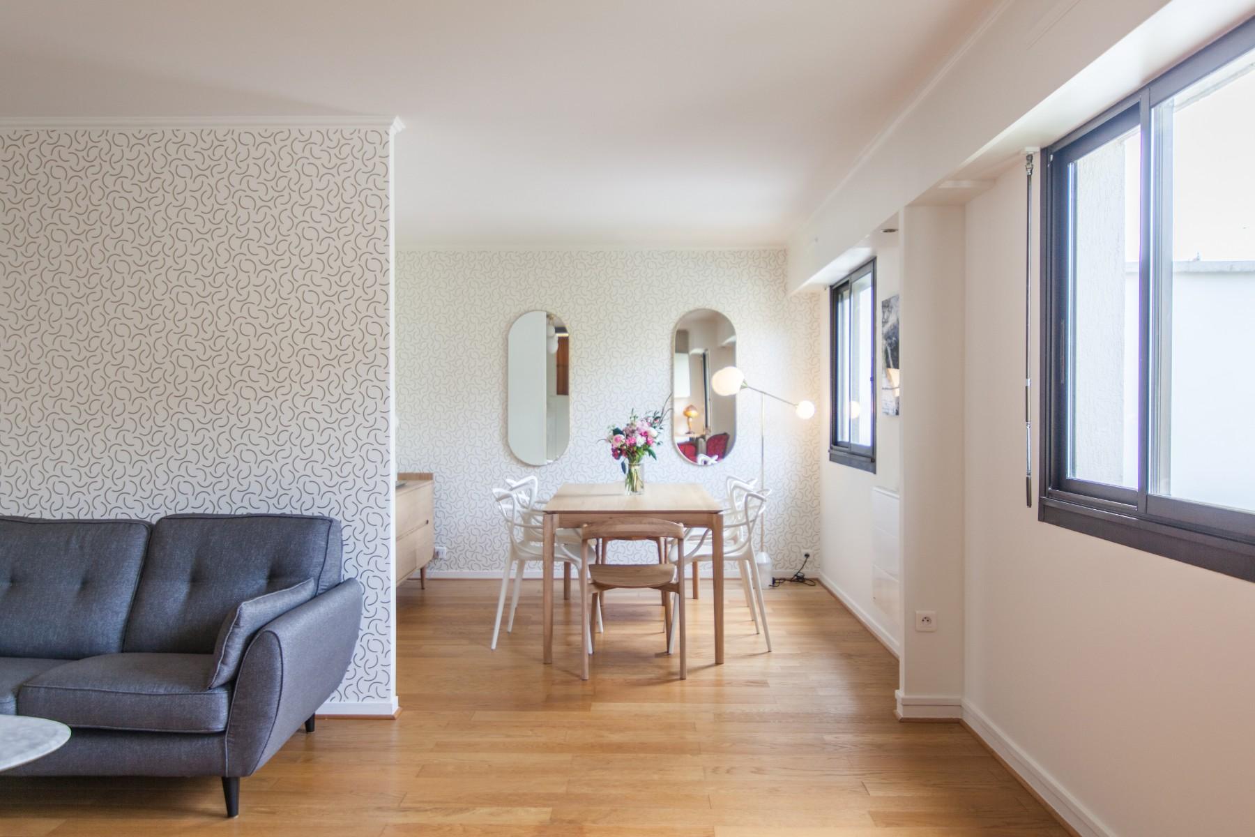 Rénovation d'un appartement à Paris aménagement du salon grâce à un architecte Archibien
