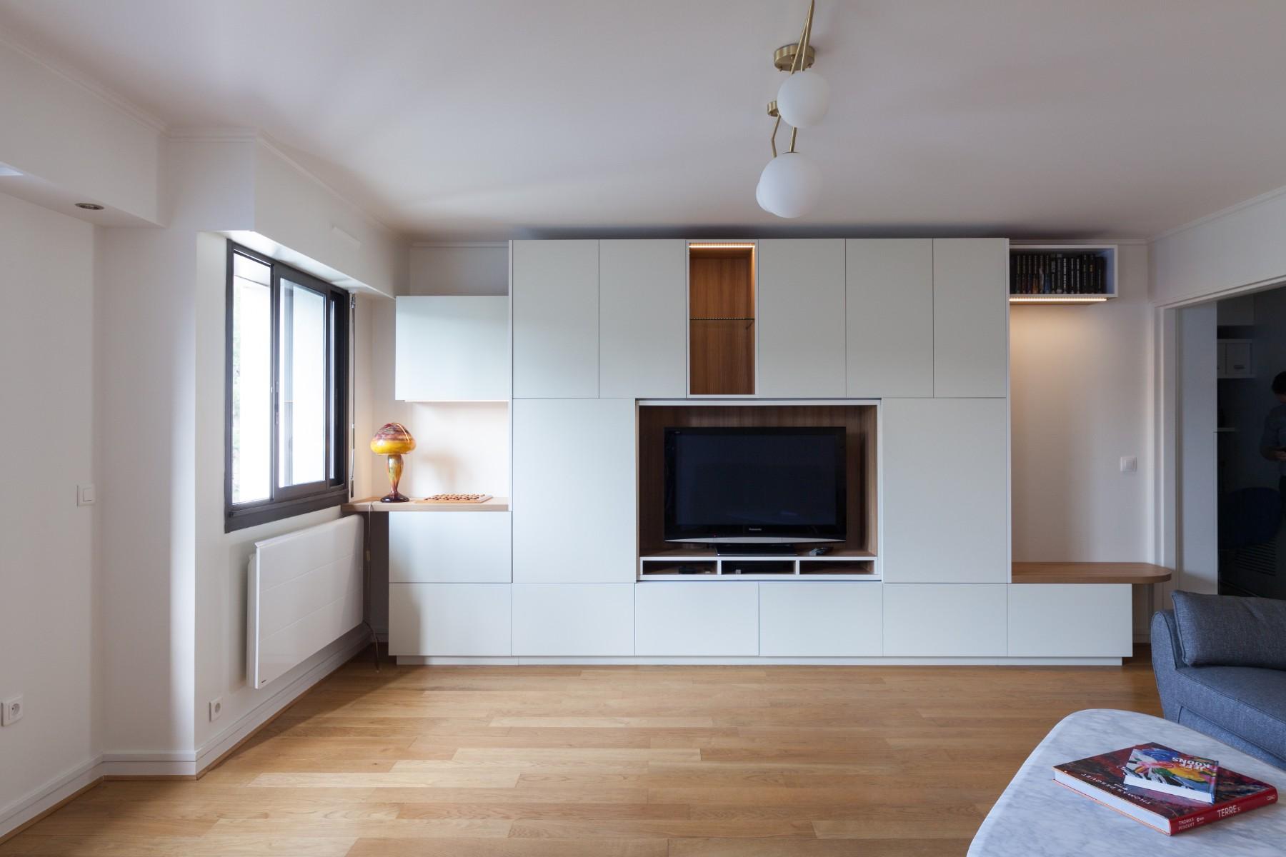 Rénovation d'un appartement à Paris, salon - trois architectes concoivent, dessinent et chiffrent votre projet