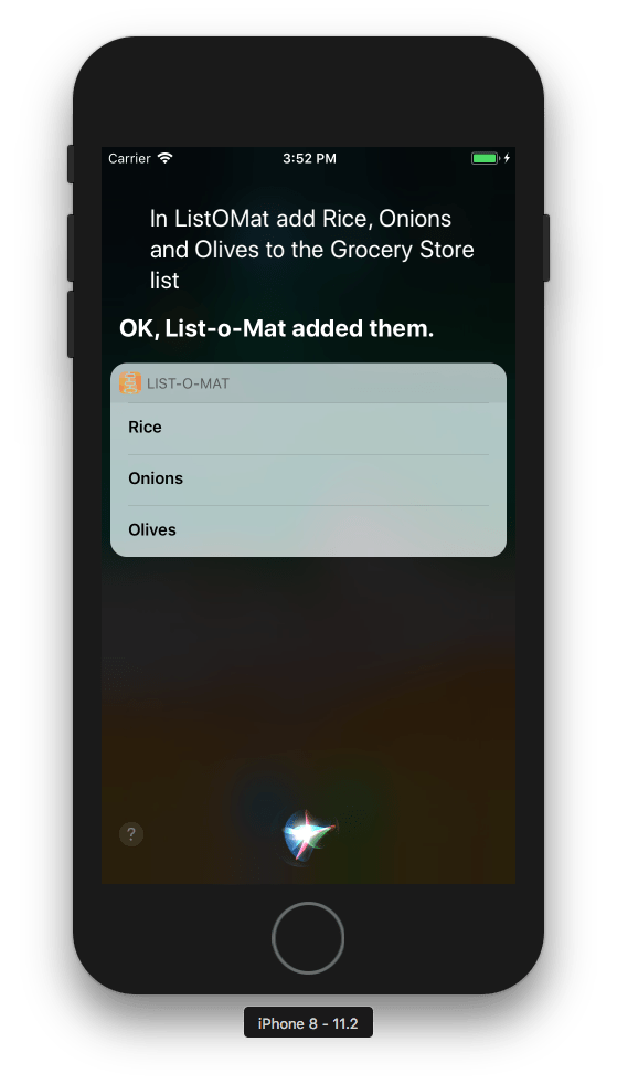 A screenshot of the simulator showing Siri adding items to the grocery store list