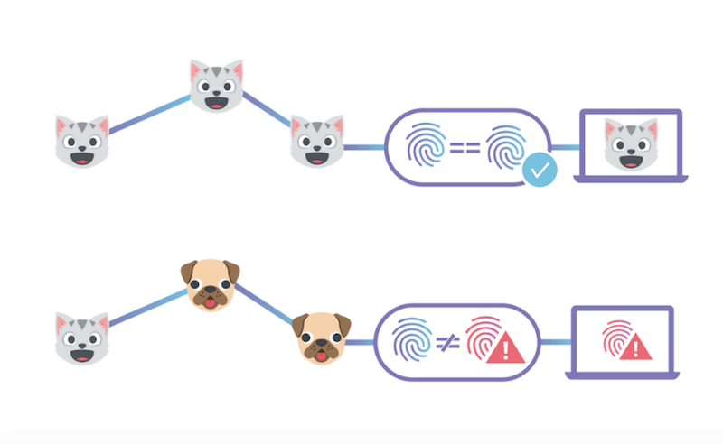 End-to-End Integrity with IPFS illustrated with cats and dogs