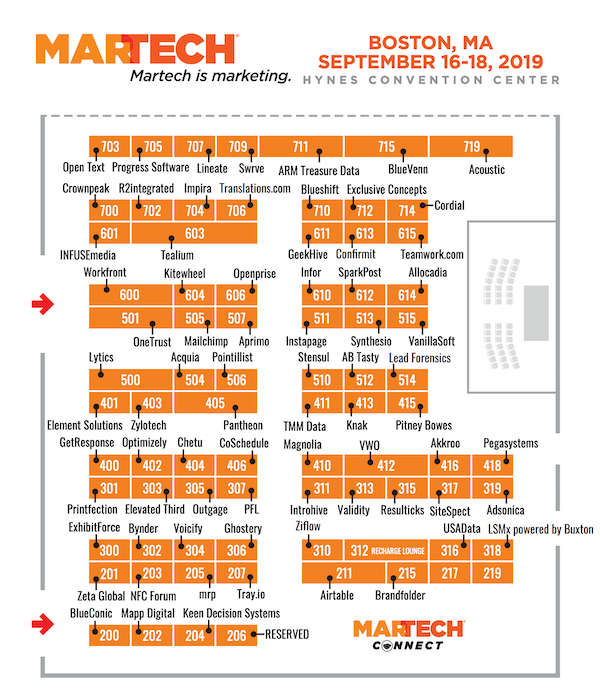 MarTech East 2019 Expo Hall Martech Vendors