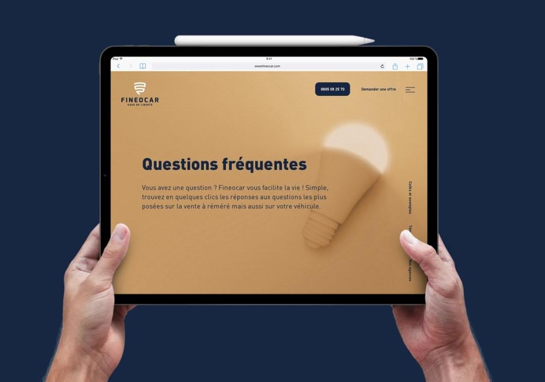Le responsive design: un site web dit adaptatif pour l'entreprise de prêt sur gage Fineocar à Mulhouse.