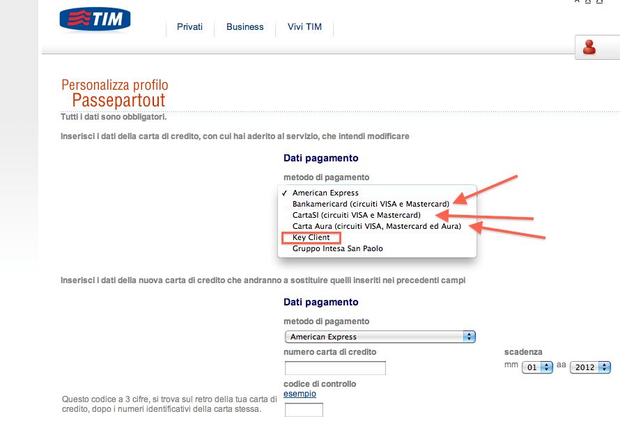 Tim 119 Selfservice E Carta Di Credito 5 Euro E Passa La