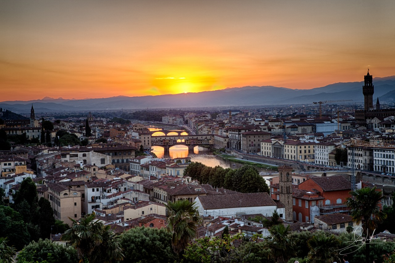 Sunset over the Arno River Firenze
