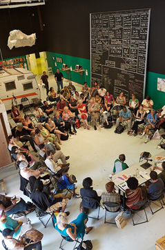 """How We Learn"" panel discussion at Hyde Park Art Center (July 2007). Co-organized by AREA Chicago, Neighborhood Writing Alliance, and Stockyard Institute"